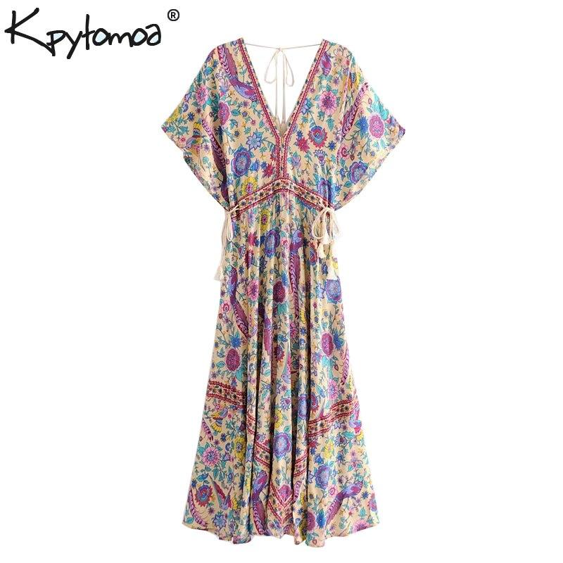 Boho Chic été Vintage oiseau Floral imprimé longue robe femmes 2019 mode col en V à lacets gland robes de plage Vestidos Mujer