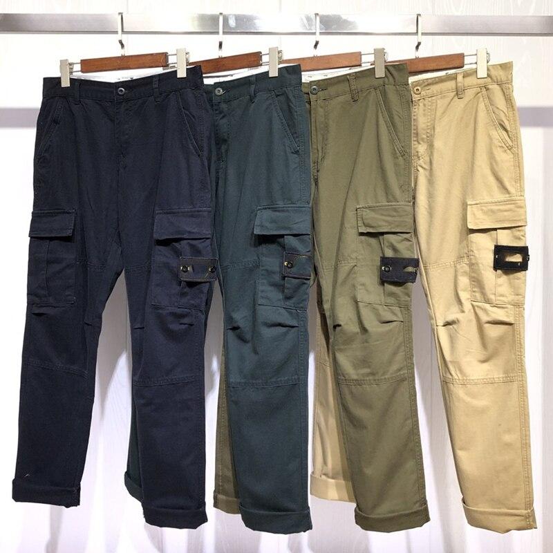 2020 NEW Men Vintage Cargo Pants Mens Pockets Joggers Stone Is Land Pants Male Fashion Sweatpants Winter Overalls