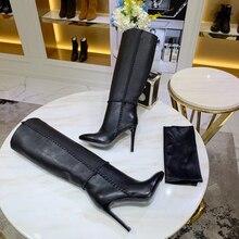 Chueyz/женские ботфорты из натуральной кожи с круглым носком на тонком каблуке дышащие яловые женские сапоги