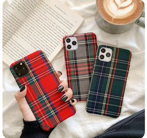 Gimfun Warm Flannel Plaid Cloth Phone Case for Iphone 11 Case Simple Plush Fabric Case for Iphone 11 Pro Xs Max Xr X 6 7 8 Plus(China)