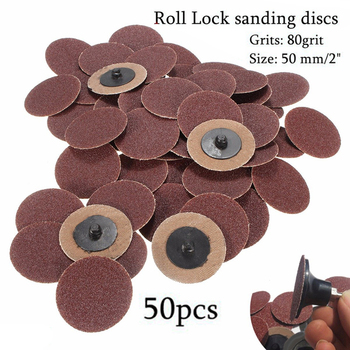 50 Uds 2 pulgadas 50mm lijado Set de discos 80 grano Tipo R rollo cerradura abrasivo para Sander textil