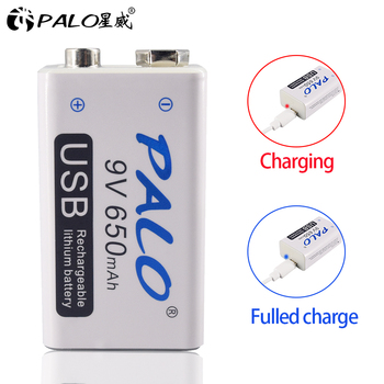 PALO 650mAh micro USB 9 Volt  li-ion Rechargeable Battery 6F22 9V Li ion Lithium Battery for RC Helicopter Model Microphone  Toy цена 2017