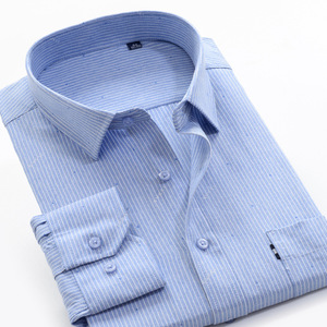 6XL 7XL 8XL 9XL 10XL 12XL 14XL Удобная хлопковая деловая Повседневная Свободная рубашка с длинными рукавами Осенняя брендовая мужская рубашка в полоску...