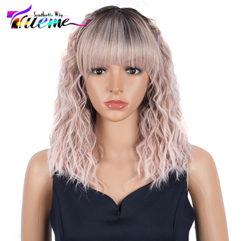 Trueme Synthetic Wig With Bangs Cosplay Wavy Pink Ombre Wigs For Women