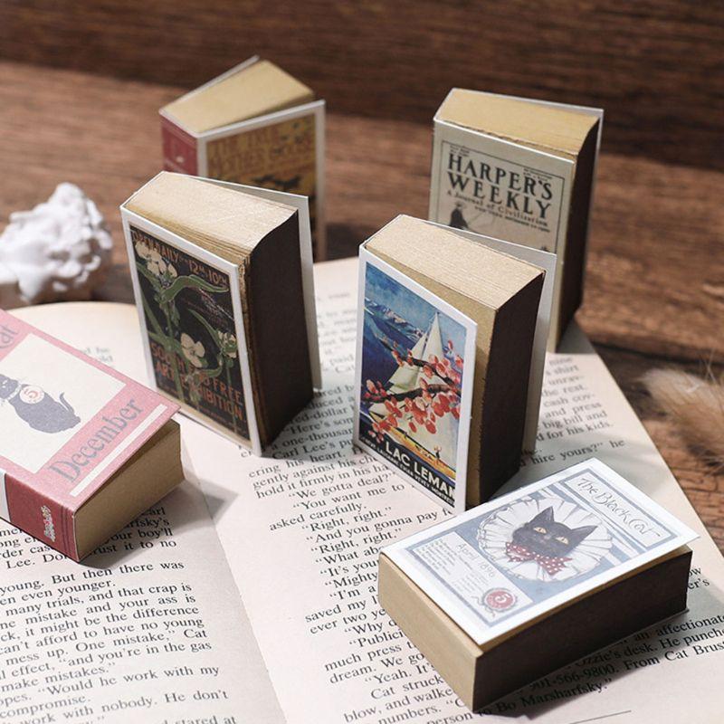 Rétro Mini 122 feuilles bloc-notes boîte d'allumettes motif cahier déchirement collant bloc-notes bureau école papeterie fournitures enfants cadeaux