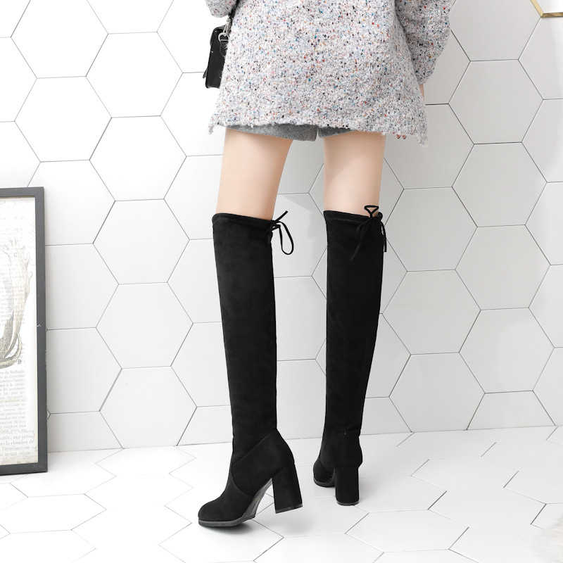 KARINLUNA yeni toptan seksi diz yüksek streç çizmeler kadın 2019 zarif parti siyah dantel-up çizmeler bayanlar yüksek topuklu ayakkabı kadın