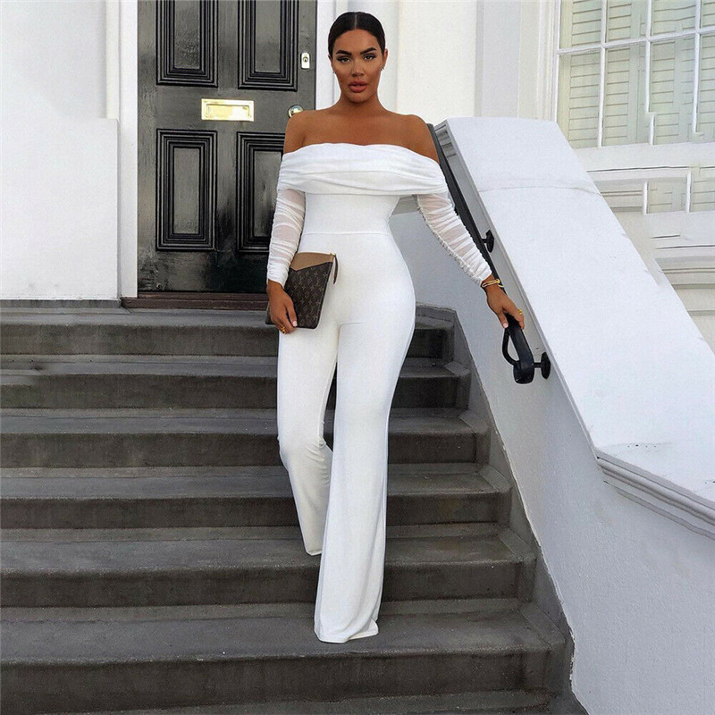Casual Women's Clubwear Off Shoulder Playsuit Party Jumpsuit Romper Long Trousers  Straight Leg Romper Fashionable Solid Color