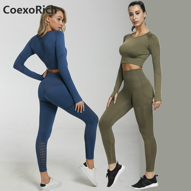 Women Long Sleeve Sport Suit 2 Piece Seamless Yoga Set Hollow Out Gym Clothes Fitness Crop Top High Waist Workout Leggings Pants
