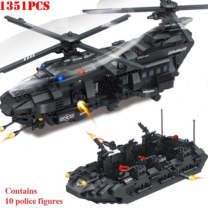 Military Swat Team Model City Police Building Blocks Transport Helicopter Toy