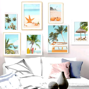 Beach Surfboard Starfish Coconut Tree Car Wall Art Canvas Painting Nordic Posters And Prints Wall Pictures For Living Room Decor