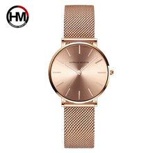 Hannah Martin acier inoxydable maille bracelet Quartz mouvement étanche or Rose dames montre de luxe Ultra-mince dames montre(China)