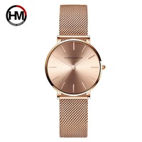 Hannah martin siatka ze stali nierdzewnej pasek kwarcowy wodoodporny różany złoty damski luksusowy zegarek ultra cienki damski zegarek w Zegarki damskie od Zegarki na