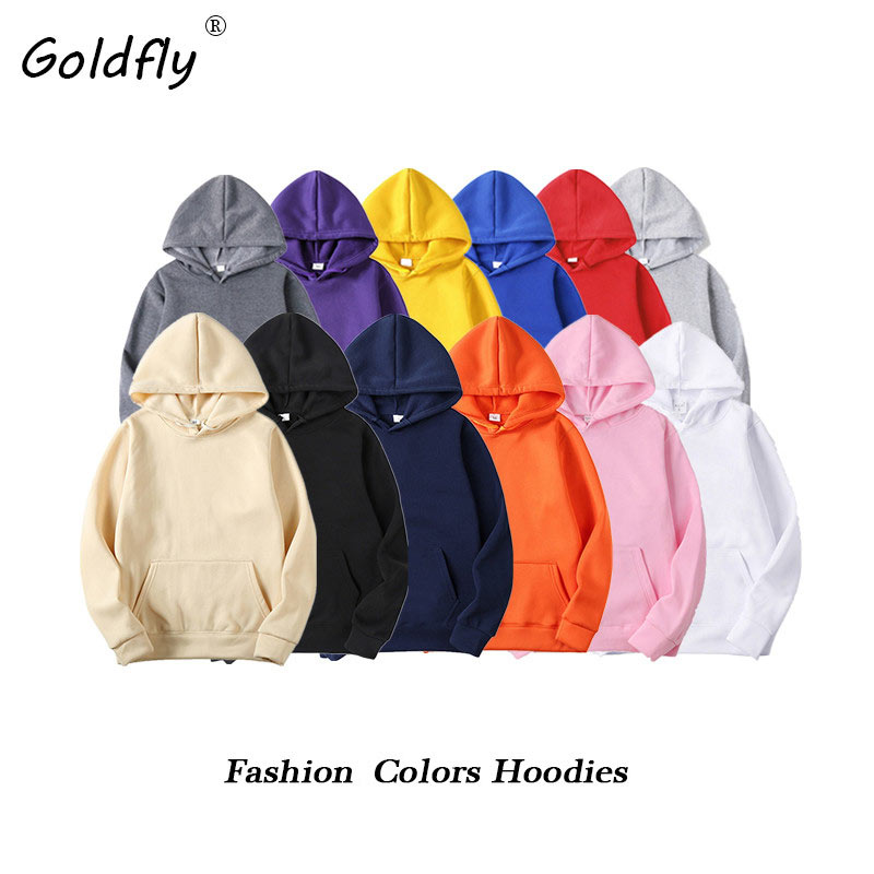 Goldfly Men's Hoodies Black Red Yellow Blue Gray Casual Hip Hop Streetwear Pullover Sweatshirts Autumn Winter Fleece Hoody Tops