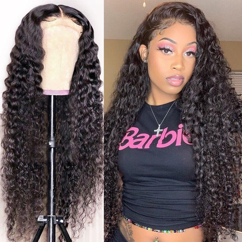 Парики из человеческих волос без клея на передней части, парик из кружева с глубокой волной для женщин, парик из вьющихся человеческих волос...