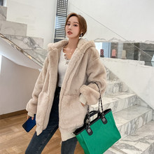 Ladies Jacket Coats Hooded Faux-Rabbit-Fur Warm Plush Winter Fashion Thick And Solid