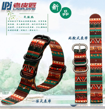 Ethnic style Nylon watch strap 18mm 20mm 22mm 24mm Watch Band NATO zulu strap Retro watchband Stainless Steel Buckle belt nato strap suede leather zulu watch band strap blue black soft watchband stainless steel square buckle 18mm 20mm 22mm 24mm