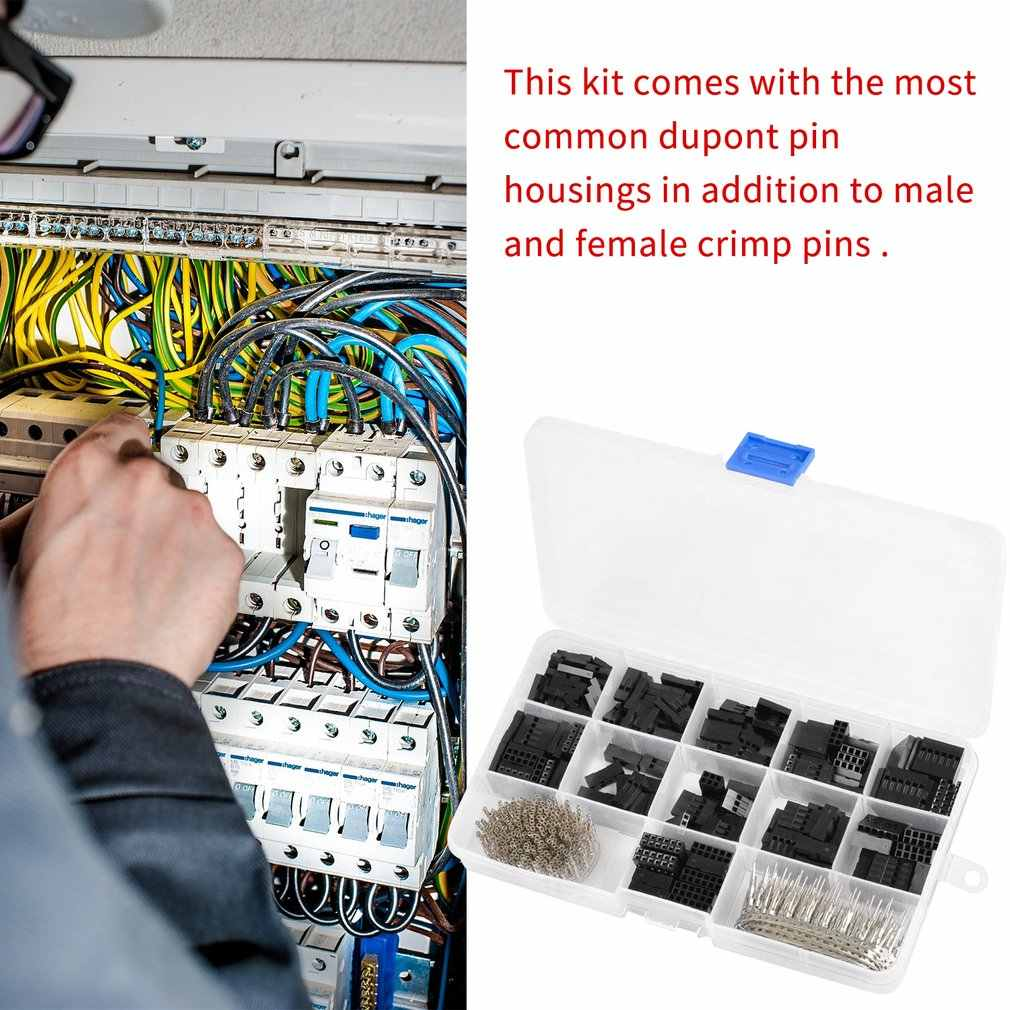 620 قطعة دوبونت سلك الطائر رأس موصل الإسكان مجموعة متنوعة تجعيد دبوس ذكر أنثى محطة PCB الإلكترونية لتقوم بها بنفسك أطقم أدوات