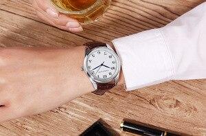Image 3 - Мужские кварцевые часы с синими указателями, мужские часы с узором в клетку, черные, коричневые кожаные водонепроницаемые спортивные часы, мужские часы в подарок