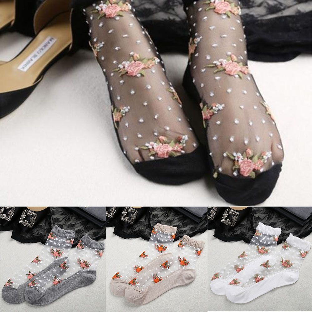 2020 Hot Sale New Women Ultra Thin Sock Women Summer Cool Breathable Transparent Socks Crystal Rose Flower Elastic Short Socks