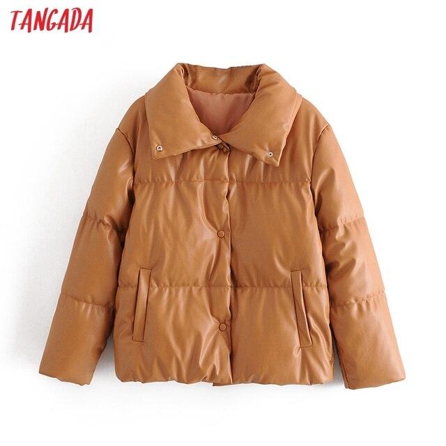 Tangada femmes marron fourrure faux cuir veste manteau surdimensionné boutons 2020 hiver femme pu tourner vers le bas col veste pardessus QN30 1