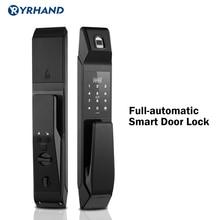 Fechadura eletrônica impressão digital, automática, inteligente, com impressão digital, cartão com senha, desbloqueio digital, sem chave, para casa