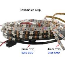 цена на Free shipping 1m DC5V addressable 4mm/5mm/7mm PCBSK6812 5050 SMD 3535 RGB flexible LED strip 60/144 pixels/m IP30 led strip