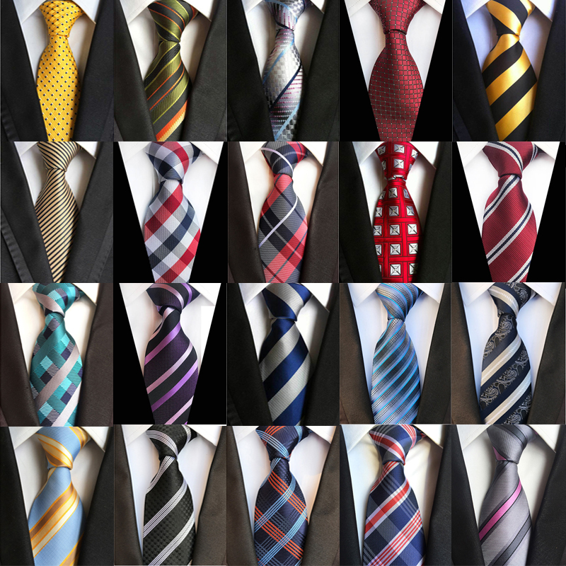 Fashion Men's Neckties Classic Stripes Plaid 8CM Wedding Ties Jacquard Woven 100% Silk Men Tie Neck Ties For Party Accessories