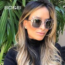 Gafas de sol cuadradas de gran tamaño de la vendimia de SO & EI Multi-corte de cristal de lujo de las mujeres de Metal piernas gradiente lentes de los hombres gafas de sol UV400 gafas