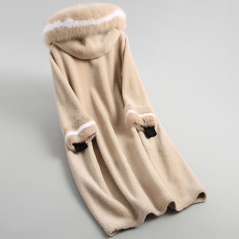 Real Long Fur Jacket Fox Fur Hooded Autumn Winter Coat Women 100% Wool Coats And Jackets Women Manteau Femme KQN18052-2 S S