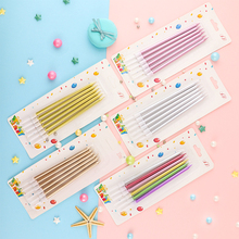 Cakelove 6 PCS golden long pencil cake candle safe flames kids birthday party wedding home decoration favor supplies