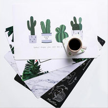 1pc Fashion Cactus Flamingo Desk Mat Table Coaster Novelty Placement for Mugs Cup Office Table Decoration DesK Set Accessories(China)