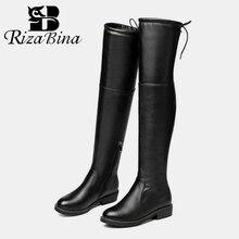 RIZABINA; большие размеры 34-43; Новинка года; Женские Сапоги выше колена на плоской подошве; зимние теплые сапоги до колена; пикантная обувь на молнии