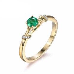 Bague en or Rose 18K pour femmes bagues de mariage en diamant vert pour Couples bague de fiançailles ronde bohème 18K pour bijoux fins