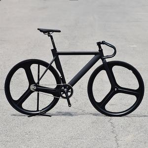 700C frame Muscular Aluminum alloy Bike 52cm Fixed Gear Bike Track Bike Bicycle with 3 Spoke Magnesium Alloy wheel rim V Brake