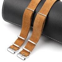 Nato armband Wildleder Leder Zulu Uhr Band Strap Blau Schwarz Weichen Armband Edelstahl Platz Schnalle 18mm 20mm 22mm 24mm