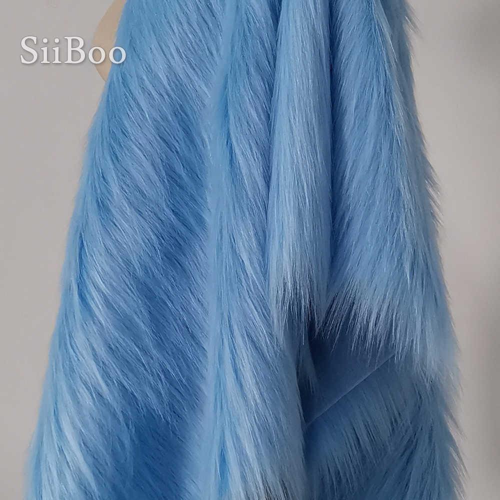 Di alta qualità di luce blu 9 centimetri peluche della pelliccia del faux tessuto per il cappotto di inverno, maglia, collo di Pelliccia, SP2478 del capo 150*50cm 1pc libera il trasporto