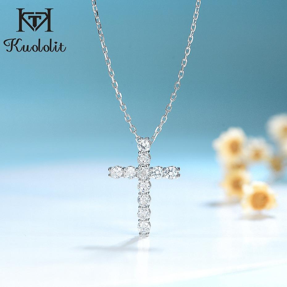 Kuolit-collier de luxe fait à la main pour femmes, pendentifs croisés en argent Sterling 925, 1 Carat, pour Moissanite, pour fiançailles