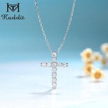 Kuololit 1 Carat Solitaire Moissanite wisiorki krzyżowe dla kobiet solidna 925 srebro Handmade luksusowy naszyjnik na zaręczyny