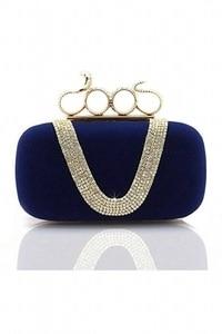 Women's Elegant Evening Bag Ladies' Handbag Clutch Bag for wedding and evening dresses (Snake Dark Blue)