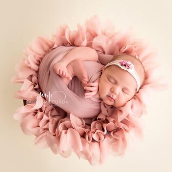 (Diameter=49~50cm) Flower Style Mat Soft Chiffon Cushion Photography Baby Props Newborn Photographic Newborn Props