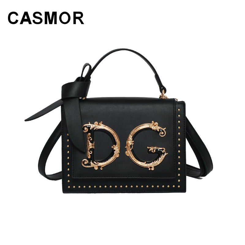 CASMOR Designer Bags Famous Brand Women Bags 2019 Fashion Flap Bag Lady Bow Handbags Letter Shoulder Bags Ladies Evening Bag