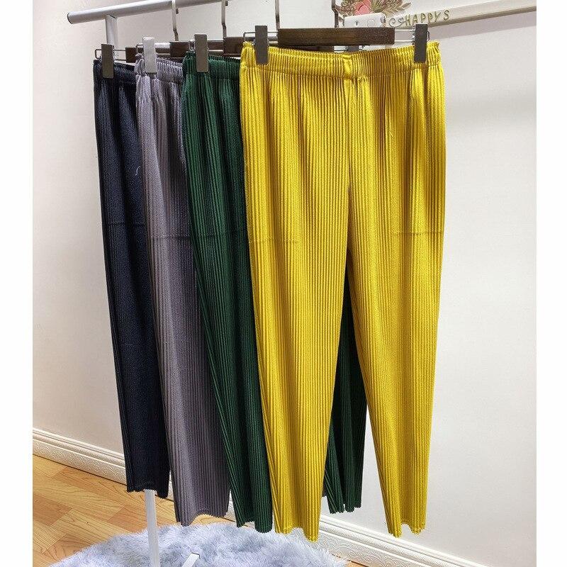 Plus Größe Hosen Für Frauen Herbst Neue Elastische Miyake falten Dick Einfarbig Casual Bleistift Hosen Knöchel Länge