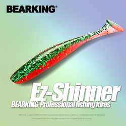 BEARKING EZ shinner Fishing Lures 50mm 75mm 100mm Wobblers Carp Fishing Soft Lures Silicone Artificial Double Color Baits