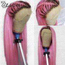Zesen fibra de alta temperatura 13*4 perucas de cabelo onda longa peruca dianteira do laço sintético ombre cor para as mulheres parte média livre navio