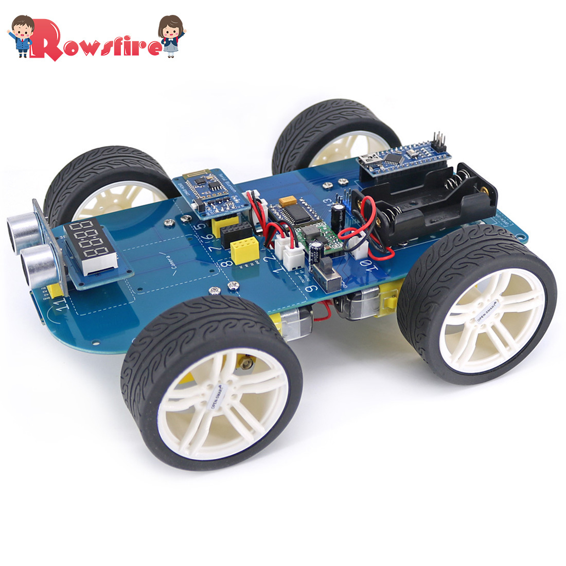 Rowsfire High-tech Programmable Boys 4wd Bluetooth Smart Car Ultrasonic Display And Obstacle Avoidance Kit +tutorial For Arduino