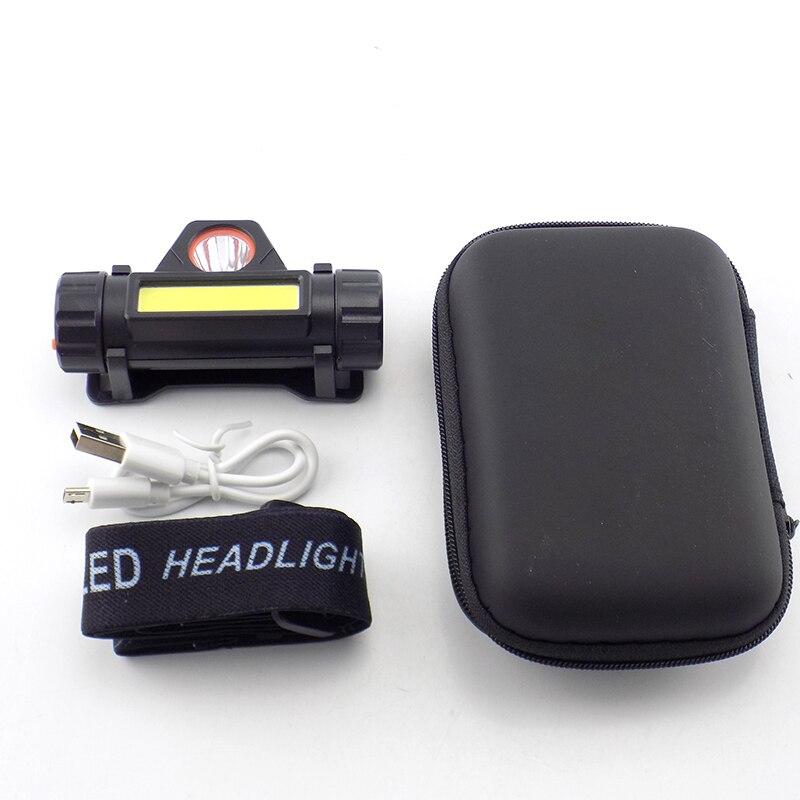 Mini USB Port Rechargeable Headlamp Flashlight 2 LED COB XPE 6 Modes Hoofdlamp Head Light Torch Frontal Running Lamp High Power