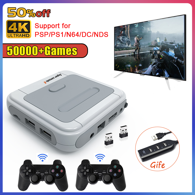 Retro Super Console X Mini/TV Video Game Console For PSP/PS1/MD/N64 WiFi HD Output Built-in 50+Emulators with 50000+Games