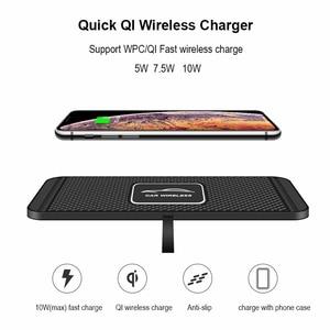 Image 2 - C1 QI kablosuz araba şarjı Pad iPhone 11 Pro Max hızlı hızlı kablosuz şarj cihazı 10W 7.5W depolama çekmecesi