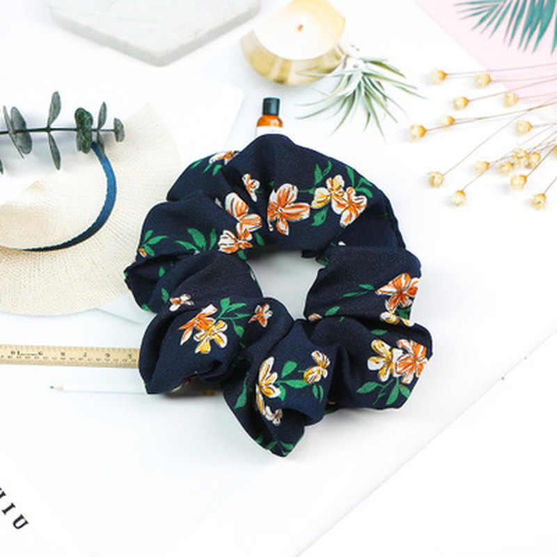 2019 Nova Flor Scrunchies Cabelo Hairband Headband para Mulheres Doce Cor de Verão Rabo de Cavalo Titular Laços de Cabelo Meninas Acessórios