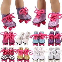 Кукольные коньки 7,5 см, обувь для американской девочки 18 дюймов 43 см, товары для кукол новорожденных, аксессуары для девочек ПОКОЛЕНИЯ ненук...